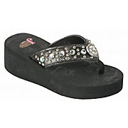 Justin Elly Kids Black Crocodile Print w/ Heart Concho Jeweled Flip-