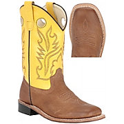 Old West Youth's Carona Calf Leather Boots - Tan w/ Yellow Top