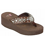 Justin Elly Kids Brown Crocodile Print w/ Heart Concho Jeweled Flip-