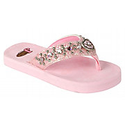 Justin Emma Kids Pink Metallic w/ Heart Concho Jeweled Flip-Flop by