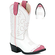 Old West JAMA Childrens Wing Tip Western Boots - Pink & White