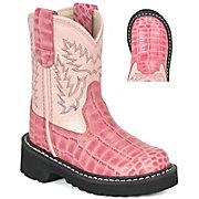 Old West JAMA Childrens Gator Print Tubby Boot - Pink