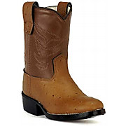 Old West JAMA Infants Ostrich Print Roper Boots - Cognac