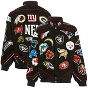 Black NFL Original Collage Full-Button Twill Jacket.