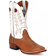 Larry Mahan Men's Brown Cowhide w/ White Tops Wide Square Toe Western