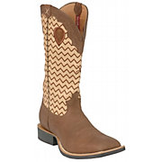 Twisted X Men's Distressed Brown w/ Zig-Zag Stitch Double Welt Square