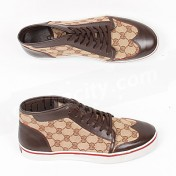 Gucci Shoes-Genuine Brown GG Canvas Fabric Mens High Tops Sneakers