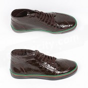 8e5334f7120 Gucci Shoes-Genuine Brown GG Patent Leather Mens High Tops Sneakers