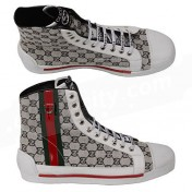 Gucci Shoes-White GG Canvas Fabric Stripe Mens High Tops Sneakers