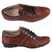 Hunter Shoes-Brown Leather Mens Sneakers