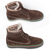 Gucci Shoes-Genuine Brown Suede Leather Mens High Tops Sneakers