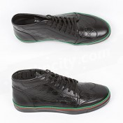 Gucci Shoes-Genuine Black GG Leather Mens High Tops Sneakers