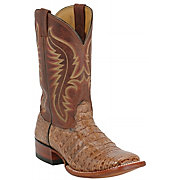 Larry Mahan Men's Tan Caiman w/ Pecan Top Exotic Square Toe Western B