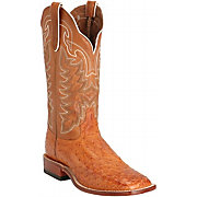 Tony Lama Men's Cognac Full Quill Ostrich Exotic Square Toe Western B