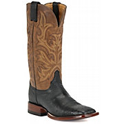 Justin AQHA Remuda Men's Black Smooth Ostrich Exotic Square Toe West
