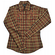Cattlelac Ranch Ladies Tobacco Plaid Embroidered Long Sleeve Shirt