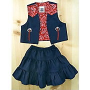 Kiddie Korral Denim Skirt and Vest Set