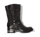 BLACK VINTAGE TUMBLED Ladies Biker Boots.