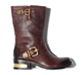 BROWN Round Toe Ladies Silk Goat Leather Boots.