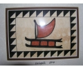 8 x 10 Hawaiian Sailing Canoe Tapa Cloth Painting. Tropical Home Decor. Oceanic Art.