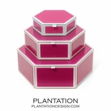 Nicole Glass Hexagonal Boxes | Pink