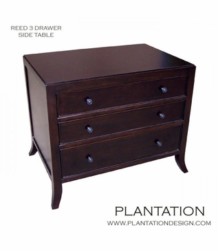 Reed Side Table, 3-Drawer