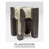 Molar Resin & Wood Stool | Grey