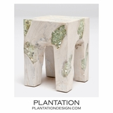 Molar Resin & Wood Stool | White