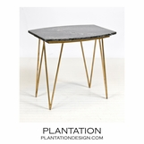 Harris Side Table | Gold Leaf & Black Marble