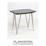 Harris Side Table | Silver Leaf & Black Marble