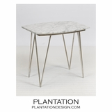 Harris Side Table | Silver Leaf & White Marble