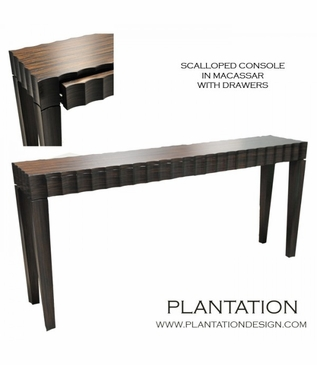 Scalloped Console w/Drawers | Macassar