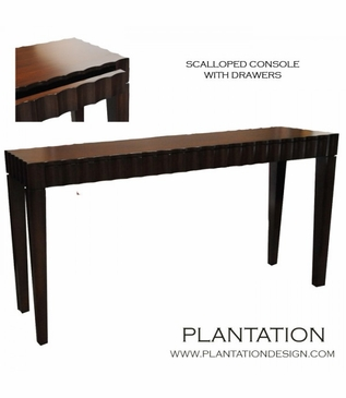 Scalloped Console w/Drawers