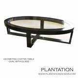 Gio Geometric Oval Coffee Table, Stained