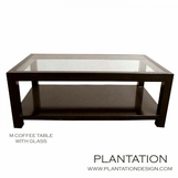 M Rectangular Coffee Table, Glass Top