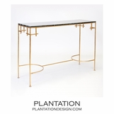 Noelle Iron Console | Gold & Black Marble