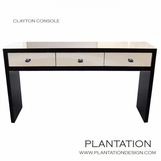 Clayton Console Table, Painted w/Mirrored Drawers