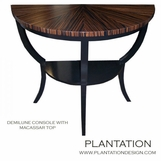Demilune Console Table, Stained