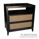 Frank 2-Drawer Side Table, Stained w/Fabric Fronts
