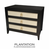 Frank 3-Drawer Side Table, Stained w/Fabric Fronts