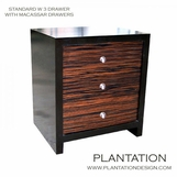 SImon 3-Drawer Side Table, Stained w/Macassar Fronts