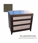 Fabric Front Side Table 2 Drawer Plantation