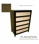 Frank Highboy Dresser, Stained w/Fabric Fronts