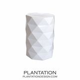 Faceted Ceramic Stool | White