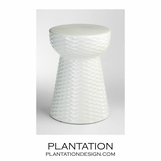 Textured Cone Ceramic Stool | Ivory