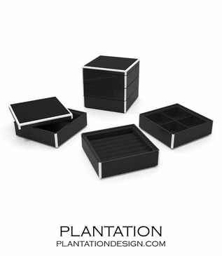 Lacquer Stacked Jewelry Box   Black