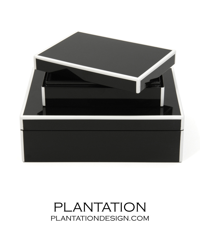 Lacquer Storage Boxes Set | Black