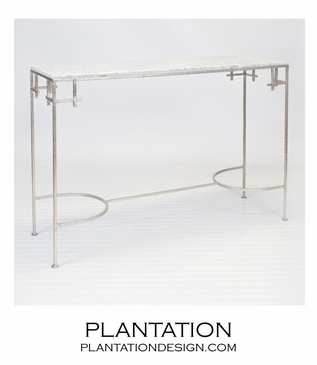 Noelle Iron Console   Silver & White Marble