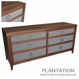Fabric Front Dresser | Walnut