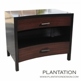 Cameron 2-Drawer Side Table, Stained w/Rosewood Drawers
